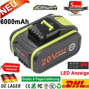 6,0Ah 20V Lithium-Ionen Akku Für Worx Power WA3553 WA3550 WA3551.1 WA3572 LED