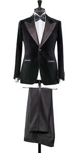 Men Black Suits Designer Wedding Groom Velvet Coat Dinner Party Suits(Coat+Pant)
