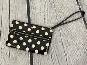 Kate Spade Black White Polkadot Mini Patent Leathern Zip Wristlet Wallet