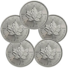 Lot of 5 - 2018 Canada 1 oz Silver Maple Leaf $5 Coins GEM BU Coins SKU49794