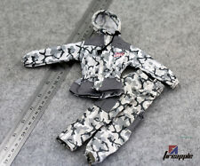 "1/6 Scale Snow Camouflage White Camo Jacket Pants Outfit  For 12"" Action Figure"