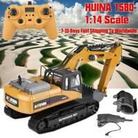 HUINA 1580 1:14 3 in 1 Full Metal Excavator/Drill/ Grapple RC Engineering Car ❤p
