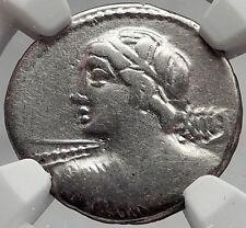 Roman Republic 84BC Rome VEJOVIS Minerva CHARIOT Ancient Silver Coin NGC i61945