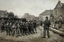 Mayer YOUNG SOLDIERS Boys w BAYONETS Rifles Guns 1881 Antique Engraving Matted