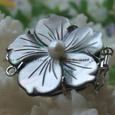 35mm Gray MOP/Shell Genuine Pearl Jewelry Clasp Flower
