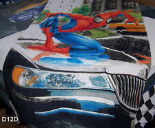 Spiderman On Car Printed Large Blue Beach Towel New