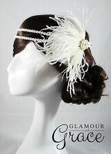 Vintage wedding Gatsby 1920s Flapper ivory headband feather fascinator headpiece