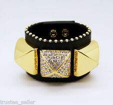 NWT Juicy Couture Crystal Pave Pyramid Gold Leather Collier De Bracelet Cuff