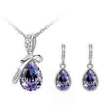 Purple Crystal Angel Tear with Bow Jewellery Set Drop Earrings & Necklace S506