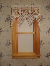 "Dollhouse Victorian Curtains - Soft White Lace Points - 3 "" W  x 2 1/4 "" L"