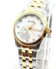 Bulova Diamond Heart MOP Two-tone Stainless Women's Watch 33mm 98P152 NWT $350