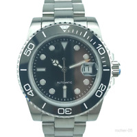 10Bar WR Black Sterile Dial Mens Sub Diver Watch Sapphire Glass Miyota Automatic