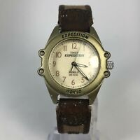 Timex Expedition Womens Indiglo Date  Brown Strap Quartz Analog Wristwatch