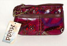 MUDD Women's Angie Glazed Wristlet Bag Accessory PURPLE MULTI Peace Floral NWT