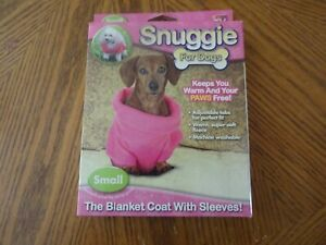 PINK SNUGGIE FOR SMALL DOG-THE BLANKET COAT WITH SLEEVES! KEEPS PAWS FREE