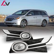 14-17 For Honda Odyssey Clear Lens Pair OE Fog Light Lamp+Wiring+Switch Kit DOT