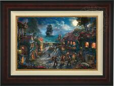 """Thomas Kinkade Pirates of the Caribean 18"""" x 27"""" LE G/P (Burl Frame)"""
