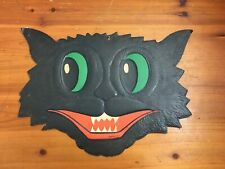 Vintage Halloween 1940's 1950's H.E. Luhrs Die Cut Halloween Cat With Case