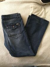 Cassini Mens Dark Blue Distressed Jeans Size 36X32 Excellent