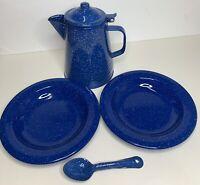 "Vtg Set Lot Speckled Deep Blue Enamel Cowboy Coffee Pot 10"" 2 Plates 8.5"" Spoon"