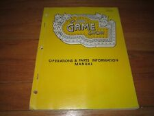The Game Show pinball Owner's Manual Original (not copy) operations parts