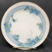 La Seynie Limoges Hand Painted Signed Blue Wildflowers & Gold Dessert Plate 1910