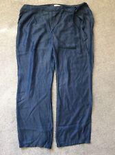 "Sheego @ Kaleidoscope Plus Size 24 Blue Lyocell Wide 33"" I / Leg Casual TROUSERS"