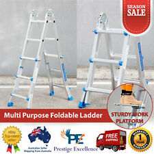 Multi Purpose Foldable Ladder with Sturdy Work Platform Aluminium 150KG Capacity
