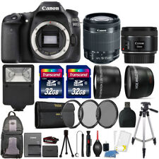 Canon EOS Rebel 80D 24.2MP DSLR Camera + 18-55mm + 50mm 1.8 STM + 64GB Lens Kit