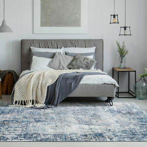 Large Blue Grey Rug Distressed Abstract Modern Lounges Carpet Mat 200x290cm