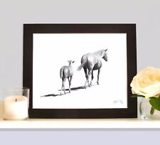 MARE & FOAL Equine Horse Art Print MOUNTED Picture Gift Present for Horse Lover