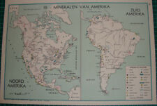 Old map North & South America minerals - mineral 1939 kaart mineralen USA