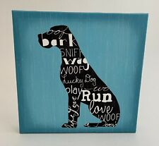 Giant/Large Breed Canvas Great Dane Print Wall Art Home Decor Gift 12x12 Blue