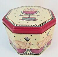 Debbie Mumm - Tin Box Company (Octagonal Tin Box) Checkered Cat Watermelon