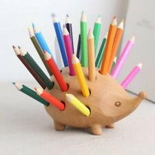 Wooden Hedgehog Pencil Pen Holder Decoration Sculpture