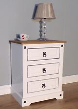 Corona White Chunky 3 Drawer Bedside Chest Table Cabinet by Mercers Furniture