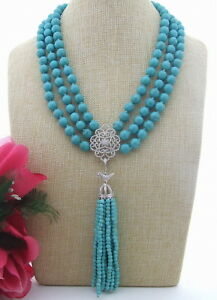 FC031502 3Strds 10mm Turquoise&Rhinestone Pendant Necklace