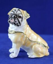 Enameled Pewter Bejeweled Tan Pug Dog Sitting Trinket Box with Treasure Inside