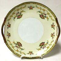 Vintage Noritake China ARLENE Handled Floral Serving Plate Japan Gold Trim