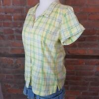 Woolrich Yellow/Green/Blue Plaid Size S Womens Blouse Button Down Short Sleeve