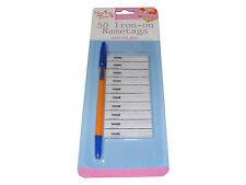 Pack of 50 à repasser porte-nom étiquettes avec stylo pour enfants vêtements