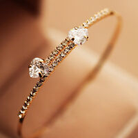 Fashion Women Crystal Zircon Rhinestone Love Heart Bangle Cuff Bracelet Wedding