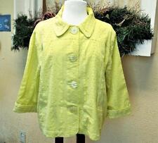 NEW Chicos Sz 3 16/18 Tempo Jacket Green Whisper Eyelet 3/4 Slv Pockets Buttons