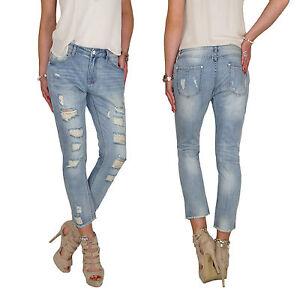 Damen Sommer Baggy Boyfriend Capri Chino 7/8 Hose Röhren Jeans Risse Fransen E75