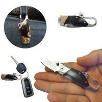 Mini Folding Knife Outdoor Camping Survival Ebony Handle Keychain Pocket Black