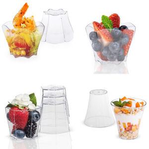10/24/25/30Pcs Clear Cube Dessert Cups Shots Mini Plastic Party Decor Tableware