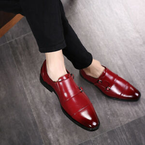 Business Mens Faux Leather Buckle Strap Pointed Toe Formal Dress Suit Shoes New
