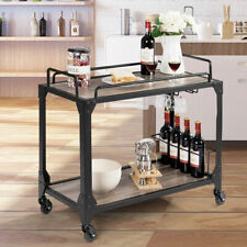 New listing 2 Tier Rolling Bar Serving Cart Wood Kitchen Island w/ Wine Holder&Glass Hanger