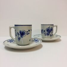 "Delft Holland Set 2 3"" Cups 5.75"" Saucers Floral Blue On Off-White #5773 Signed"