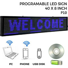 """Led Sign Led Scrolling Sign 40"""" x 8"""" Blue Open Signs Massage Advertising Board"""